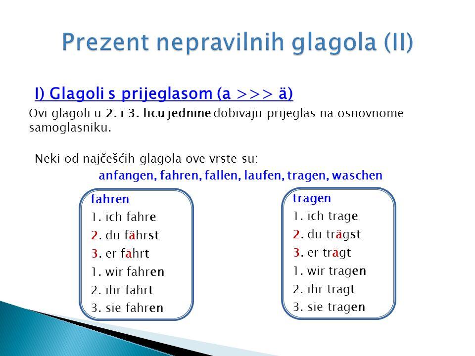I) Glagoli s prijeglasom (a >>> ä) Ovi glagoli u 2.