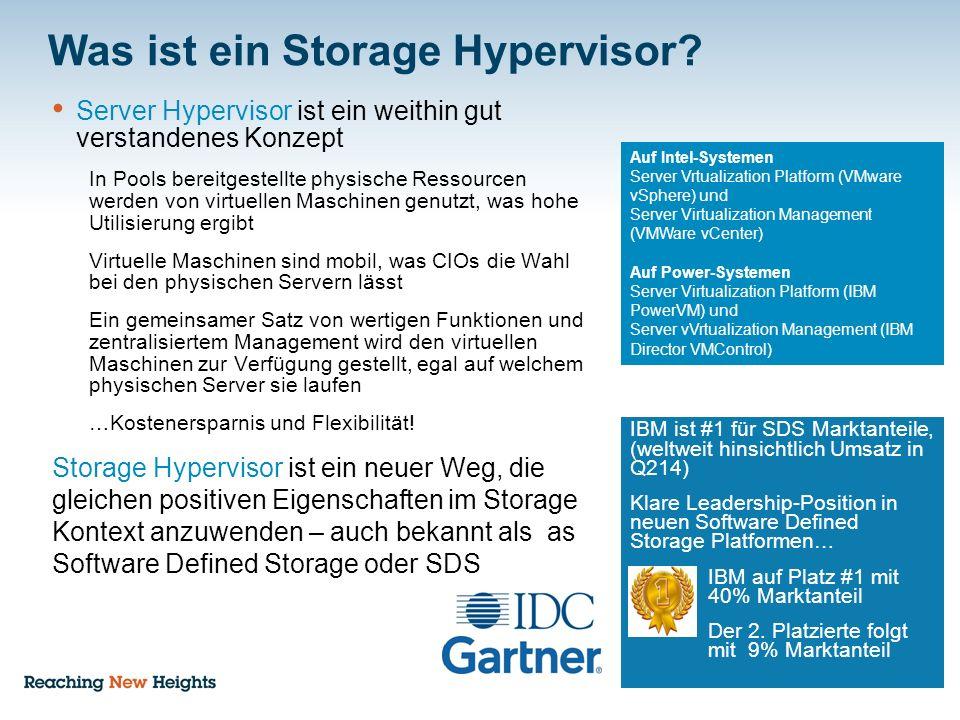 Was ist ein Storage Hypervisor? Server Hypervisor ist ein weithin gut verstandenes Konzept In Pools bereitgestellte physische Ressourcen werden von vi