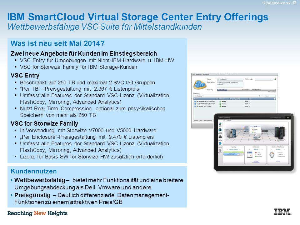 Updated xx-xx-12 IBM SmartCloud Virtual Storage Center Entry Offerings Wettbewerbsfähige VSC Suite für Mittelstandkunden Was ist neu seit Mai 2014.