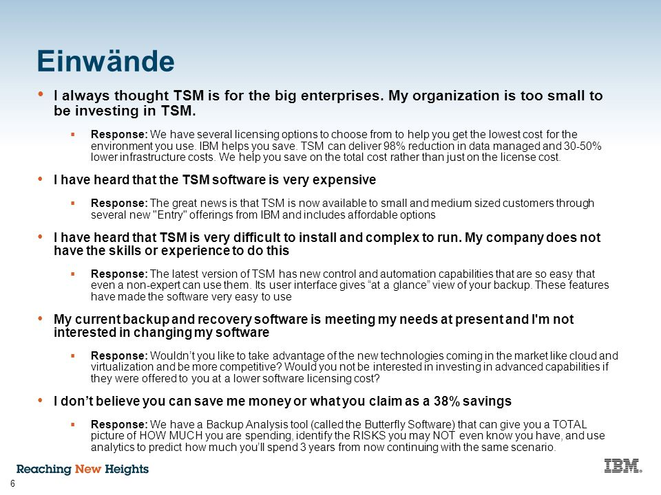 6 Einwände I always thought TSM is for the big enterprises.