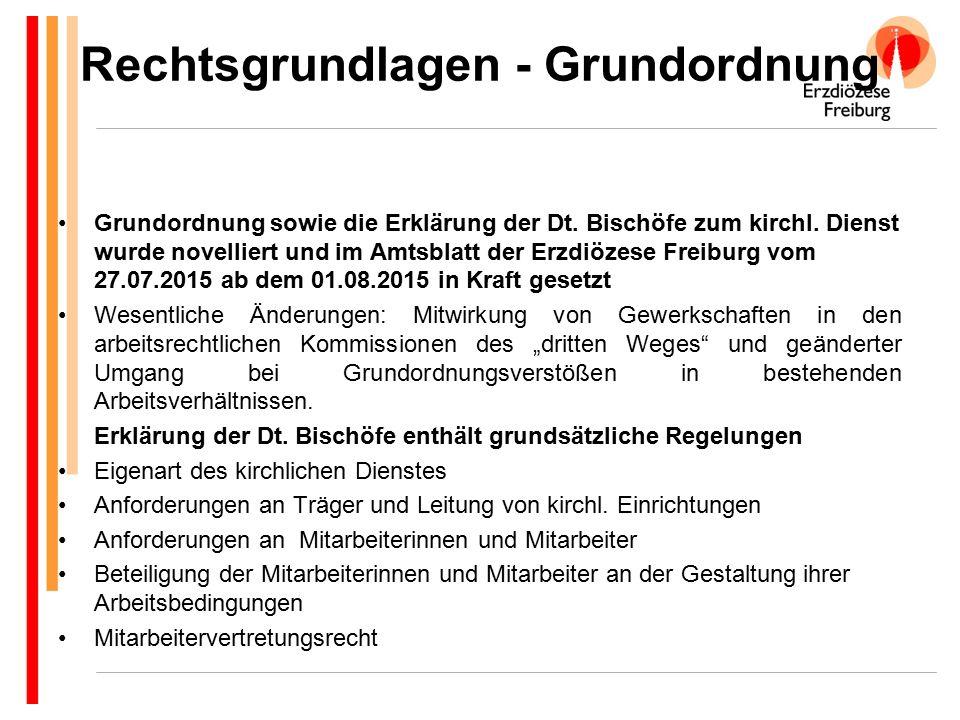 Grundordnung sowie die Erklärung der Dt. Bischöfe zum kirchl. Dienst wurde novelliert und im Amtsblatt der Erzdiözese Freiburg vom 27.07.2015 ab dem 0