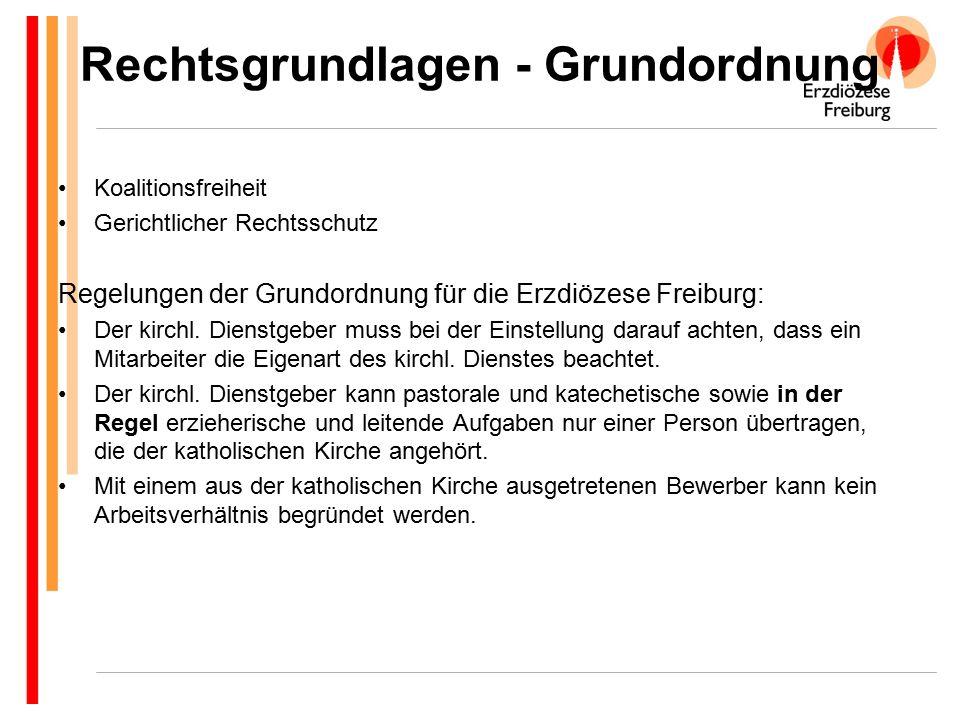 Rechtsgrundlagen - Grundordnung Koalitionsfreiheit Gerichtlicher Rechtsschutz Regelungen der Grundordnung für die Erzdiözese Freiburg: Der kirchl. Die