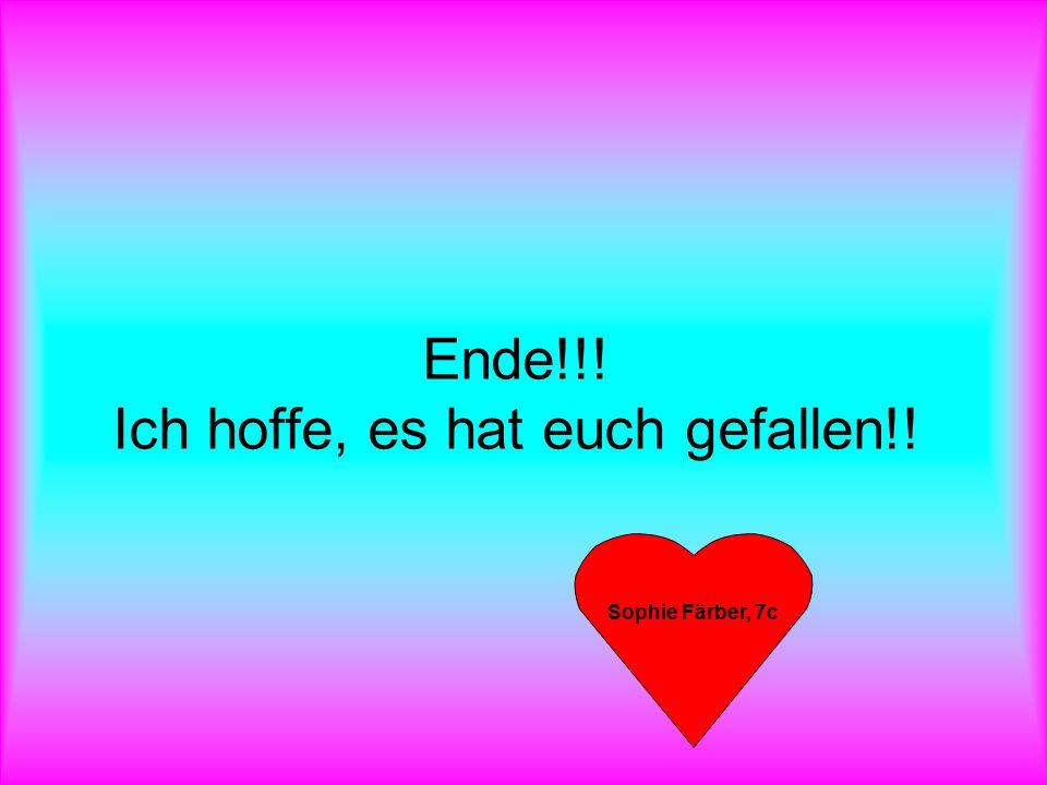 Ende!!! Ich hoffe, es hat euch gefallen!! Sophie Färber, 7c