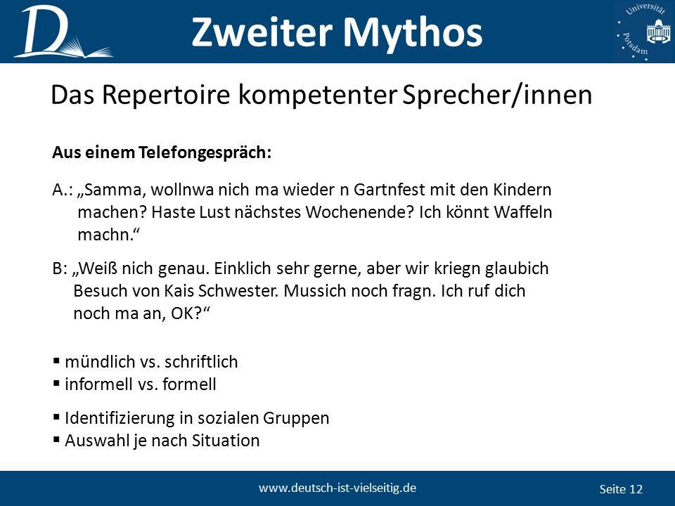 """Seite 12 www.deutsch-ist-vielseitig.de Das Repertoire kompetenter Sprecher/innen Aus einem Telefongespräch: A.: """"Samma, wollnwa nich ma wieder n Gartnfest mit den Kindern machen."""