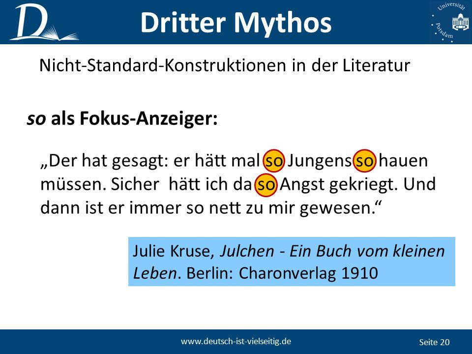 """Seite 20 www.deutsch-ist-vielseitig.de """"Der hat gesagt: er hätt mal so Jungens so hauen müssen."""