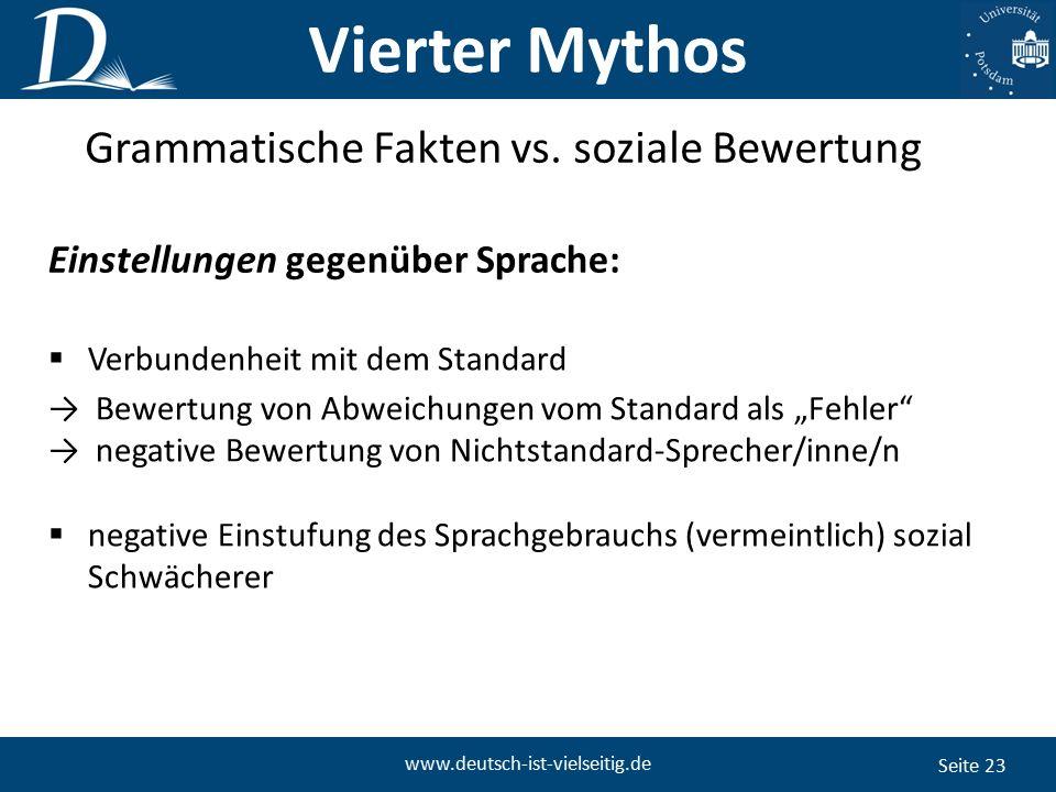 Seite 23 www.deutsch-ist-vielseitig.de Grammatische Fakten vs.