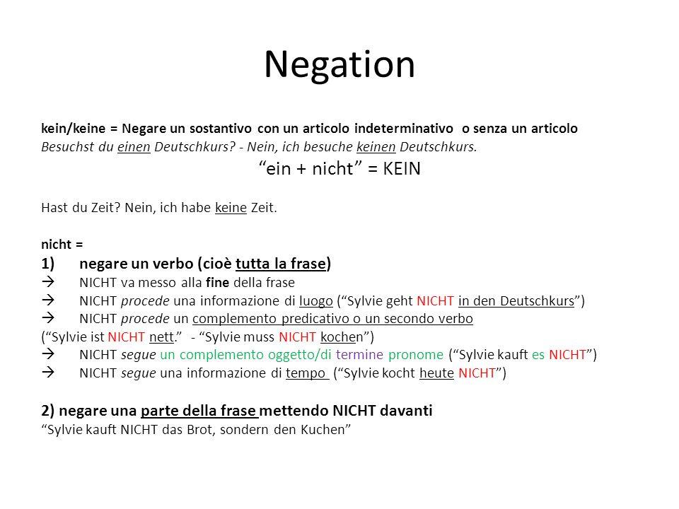 Negation kein/keine = Negare un sostantivo con un articolo indeterminativo o senza un articolo Besuchst du einen Deutschkurs? - Nein, ich besuche kein