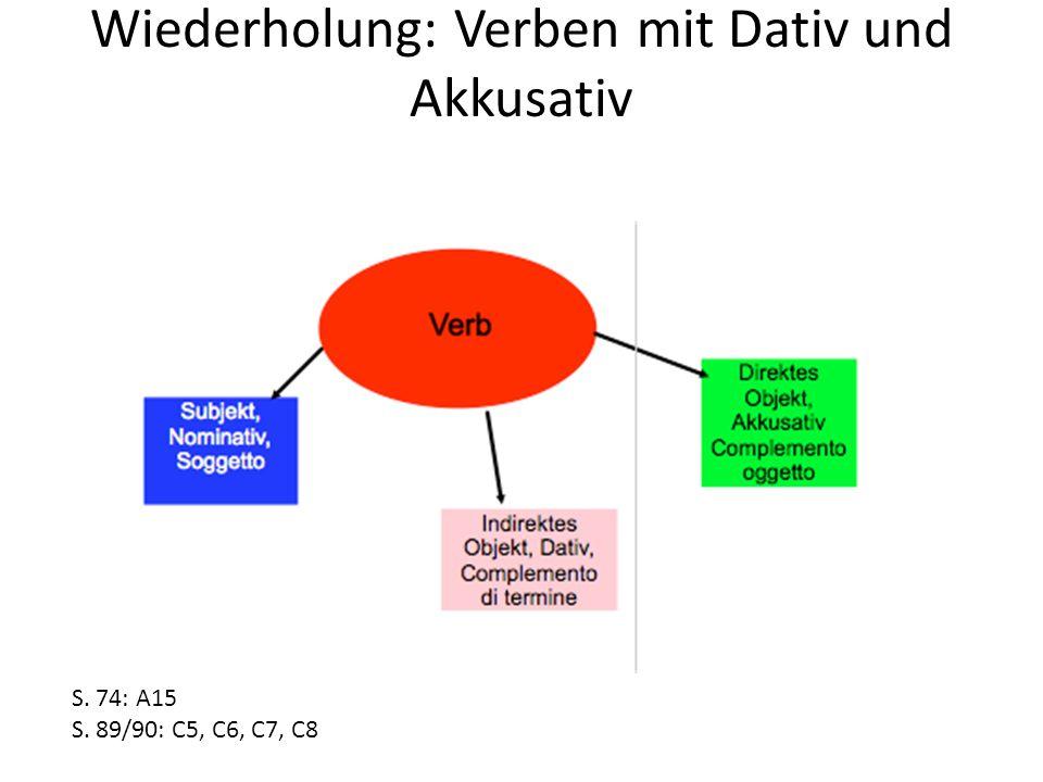 Wiederholung: Verben mit Dativ und Akkusativ S. 74: A15 S. 89/90: C5, C6, C7, C8
