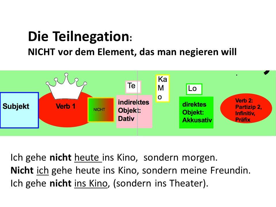 Die Teilnegation : NICHT vor dem Element, das man negieren will Ich gehe nicht heute ins Kino, sondern morgen. Nicht ich gehe heute ins Kino, sondern