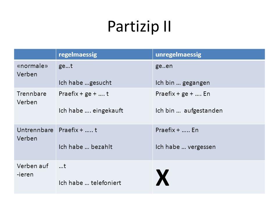 Partizip II regelmaessigunregelmaessig «normale» Verben ge…t Ich habe …gesucht ge..en Ich bin … gegangen Trennbare Verben Praefix + ge + …. t Ich habe