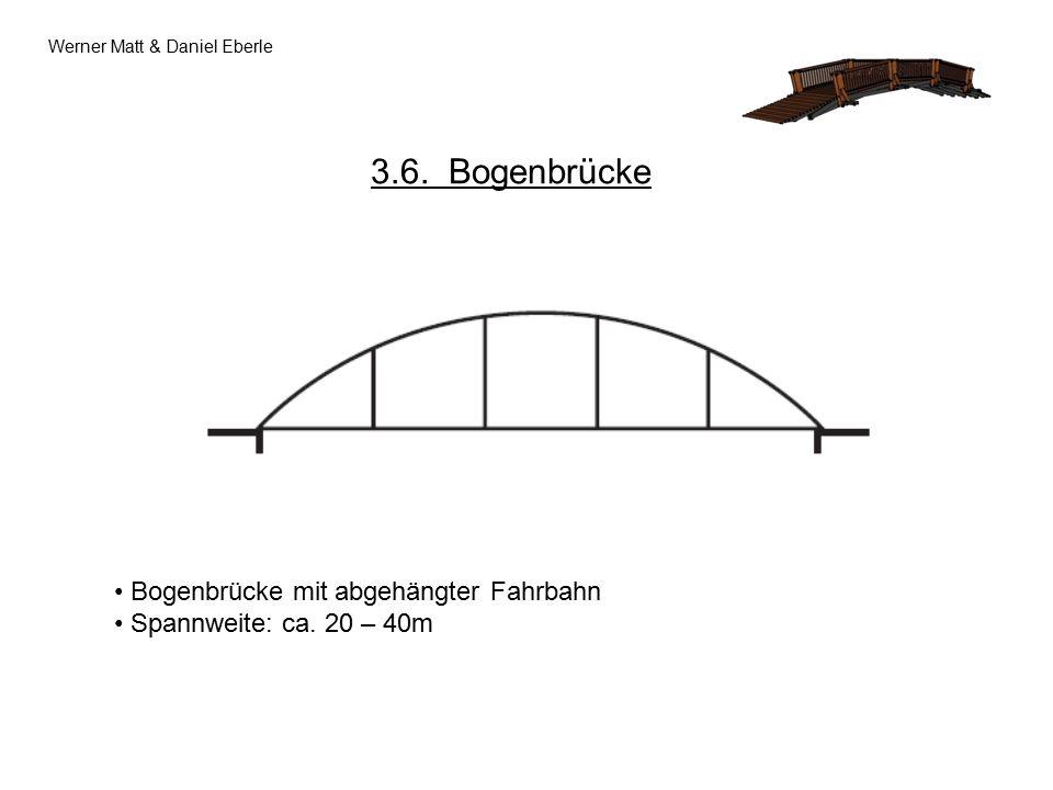 Werner Matt & Daniel Eberle 3.6. Bogenbrücke Bogenbrücke mit abgehängter Fahrbahn Spannweite: ca.
