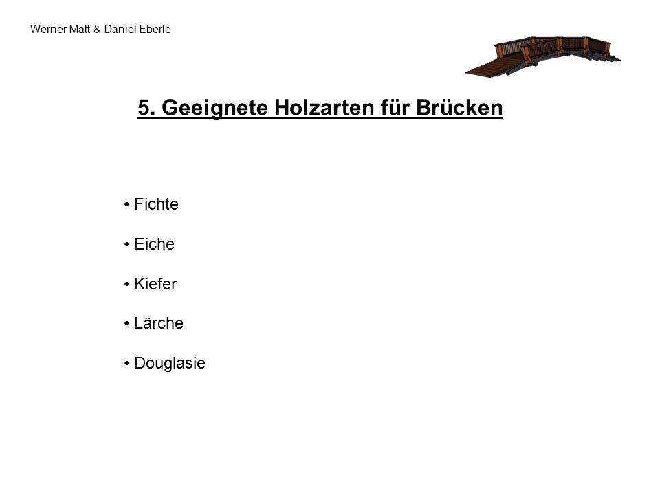 Werner Matt & Daniel Eberle 5. Geeignete Holzarten für Brücken Fichte Eiche Kiefer Lärche Douglasie
