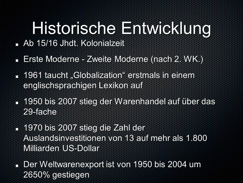 Historische Entwicklung Ab 15/16 Jhdt. Kolonialzeit Erste Moderne - Zweite Moderne (nach 2.