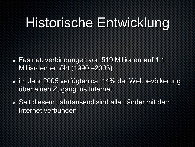 Historische Entwicklung Festnetzverbindungen von 519 Millionen auf 1,1 Milliarden erhöht (1990 –2003) im Jahr 2005 verfügten ca.