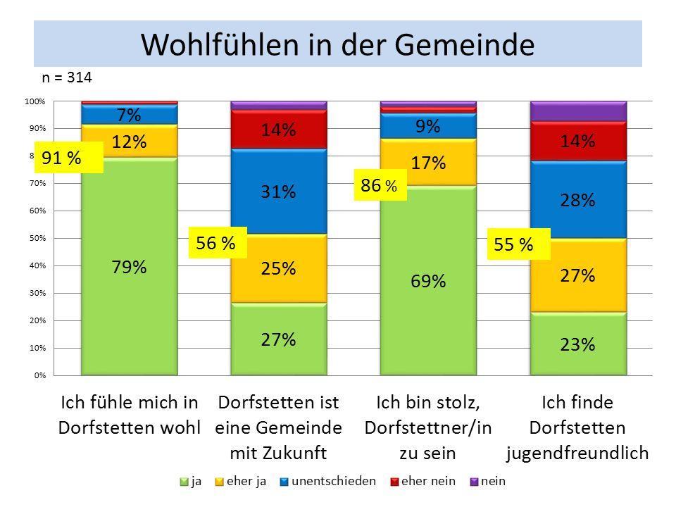 Wohlfühlen in der Gemeinde n = 314 91 % 86 % 56 % 55 %