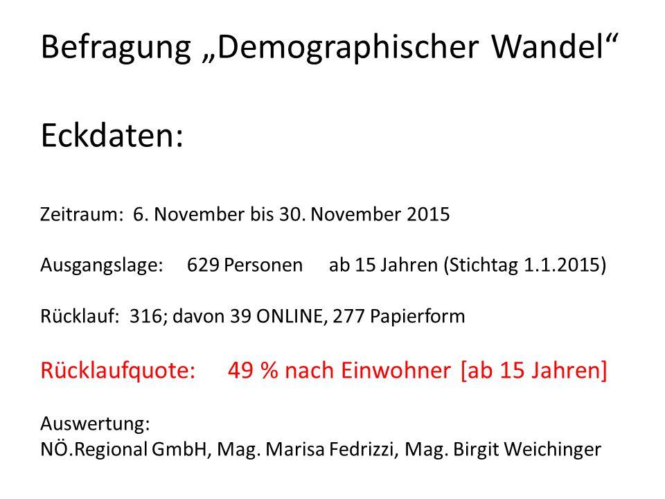 """Befragung """"Demographischer Wandel Eckdaten: Zeitraum: 6."""