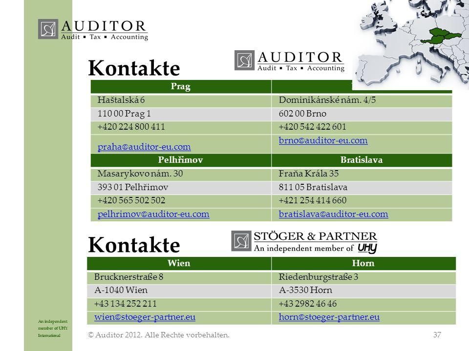 An independent member of UHY International Kontakte © Auditor 2012.
