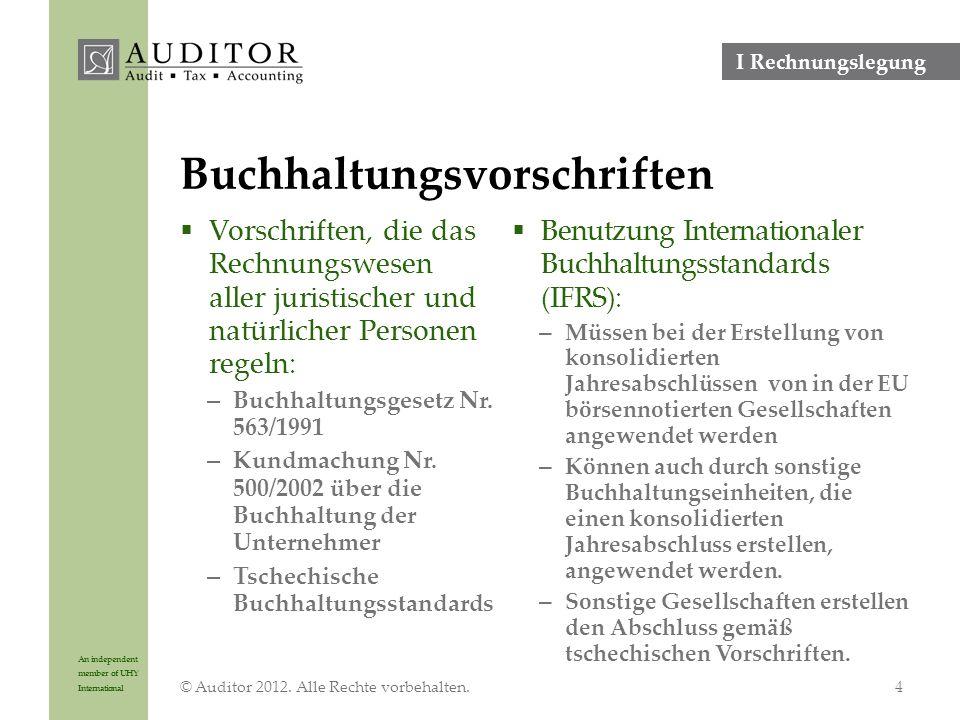 An independent member of UHY International Bruttogehalt/Gewinn 200 000 EUR pro Jahr © Auditor 2012.