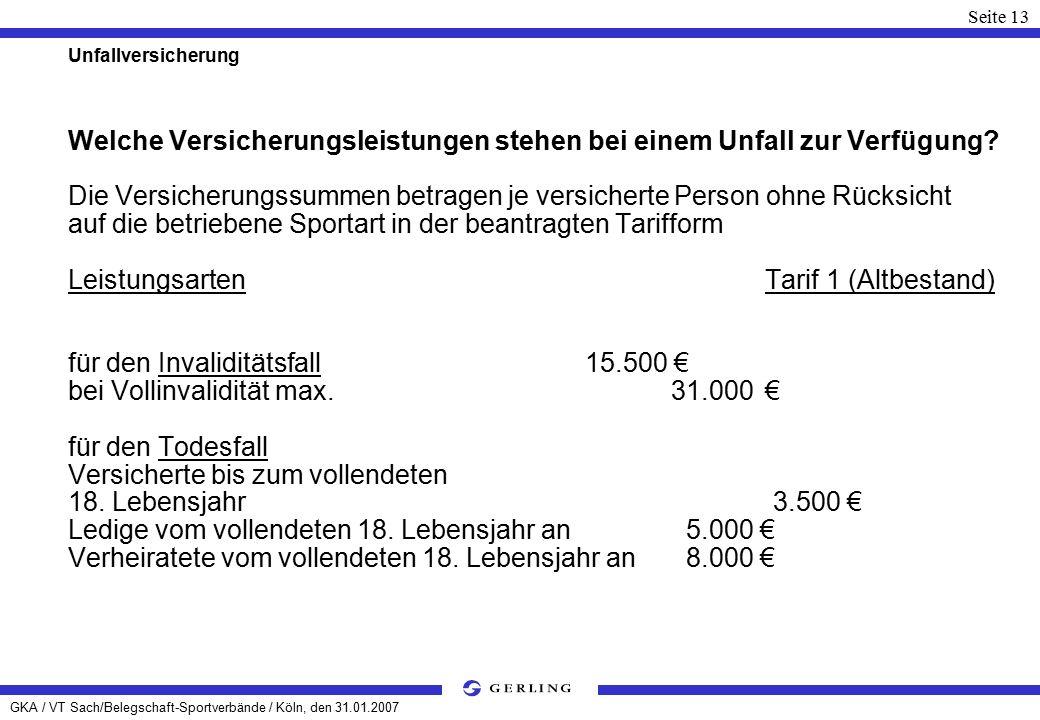GKA / VT Sach/Belegschaft-Sportverbände / Köln, den 31.01.2007 Seite 13 Unfallversicherung Welche Versicherungsleistungen stehen bei einem Unfall zur Verfügung.