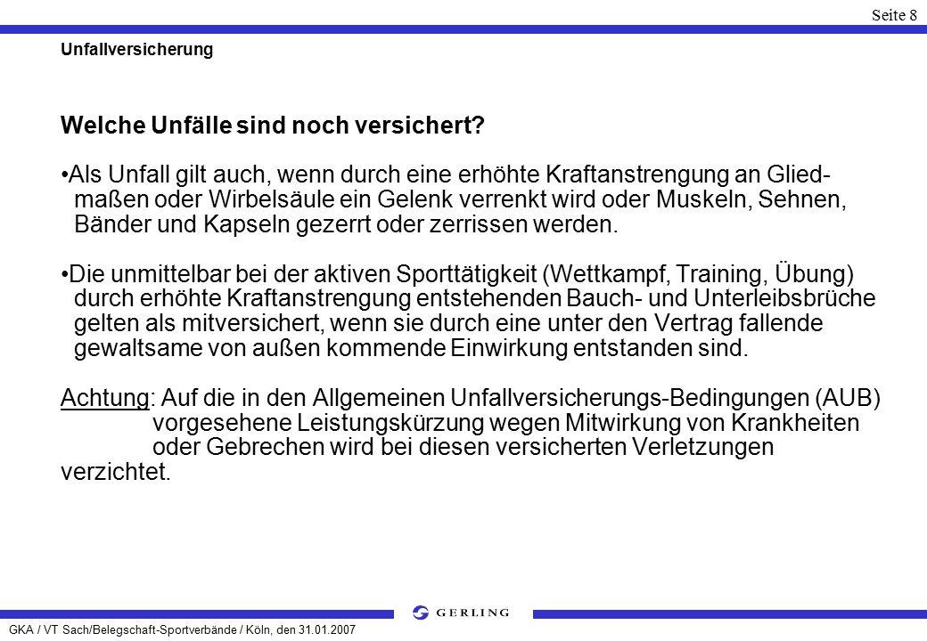 GKA / VT Sach/Belegschaft-Sportverbände / Köln, den 31.01.2007 Seite 29 Haftpflichtversicherung aus der Ausübung des Berufes von Versicherten, auch wenn diese im Auftrag oder Interesse des BSV oder der BSG erfolgte, soweit hierfür nicht Versicherungsschutz im vertragsgemäßen Rahmen besteht; als Veranstalter von internationalen Veranstaltungen.