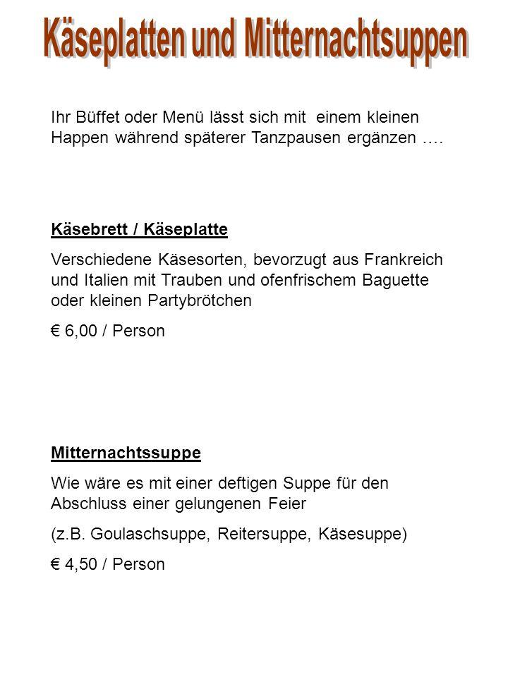 """Menü """"Vorhelm : Westfälische Rinderkraftbrühe mit guter Einlage *** Westfälisches Zwiebelfleisch von der Schwarzbunten mit hausgemachtem Kartoffelsalat und saurer Beilage *** Westfälische Pumpernickelcreme EUR 21,20 Menü """"Augustin-Wibbelt : Tomatensuppe *** Schweinemedaillons unter einer Pumpernickelkruste auf einem bunten Pilzgemüse, dazu Herzoginkartoffeln *** Hausgemachtes Eisparfait EUR 25,50 Menü """"Dorfpilz : Schwarzwurzelsuppe mit Haselnusssahne *** Wildschweinbraten in eigener Sauce an bunten Waldpilzen, dazu Kartoffelgratin *** Rote Grütze mit Vanillesauce EUR 23,00 Menü """"Mutter Agnes : Hühnersuppe """"Großmutters Art *** Rinderroulade """"Hausfrauenart Jungschweinmedaillons unter der Kräuterkruste an Portweinsauce Jahreszeitliche Gemüseauswahl und Blattsalat in """"Mutter Agnes -Dressing Salzkartoffeln, Kartoffelkroketten *** Cappucinocreme Obstssalat mit frischen Früchten EUR 27,30"""