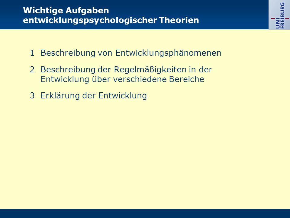 Wichtige Aufgaben entwicklungspsychologischer Theorien 1Beschreibung von Entwicklungsphänomenen 2Beschreibung der Regelmäßigkeiten in der Entwicklung über verschiedene Bereiche 3Erklärung der Entwicklung