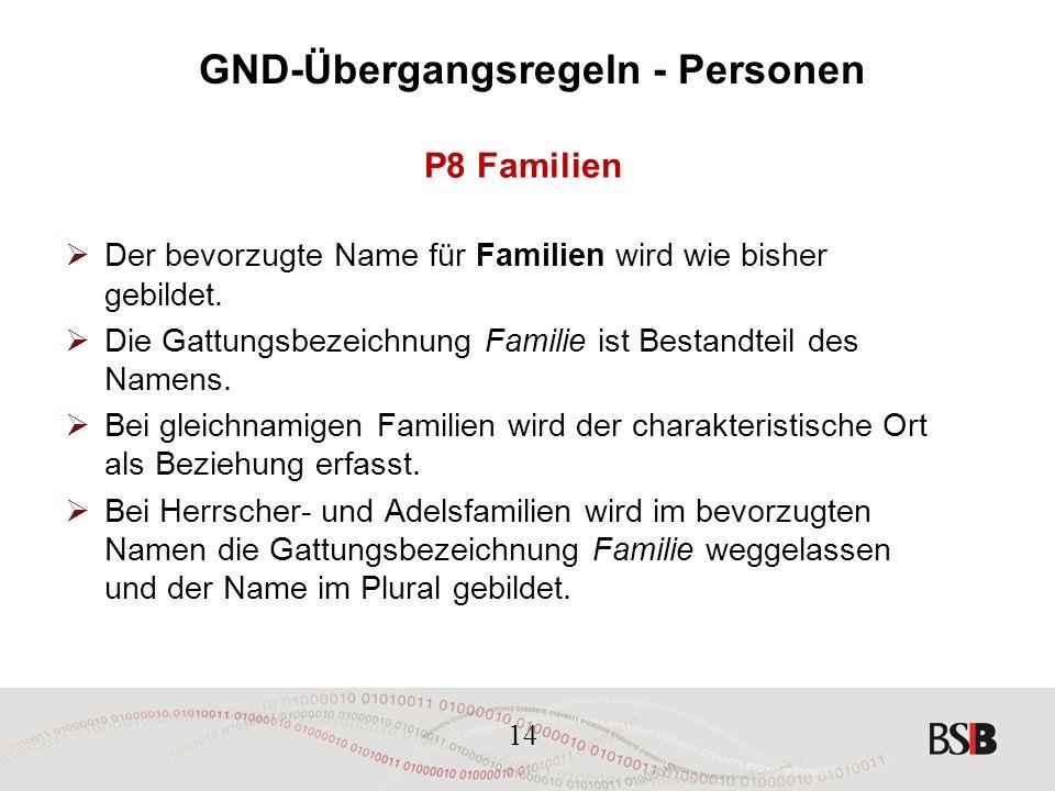 14 GND-Übergangsregeln - Personen P8 Familien  Der bevorzugte Name für Familien wird wie bisher gebildet.
