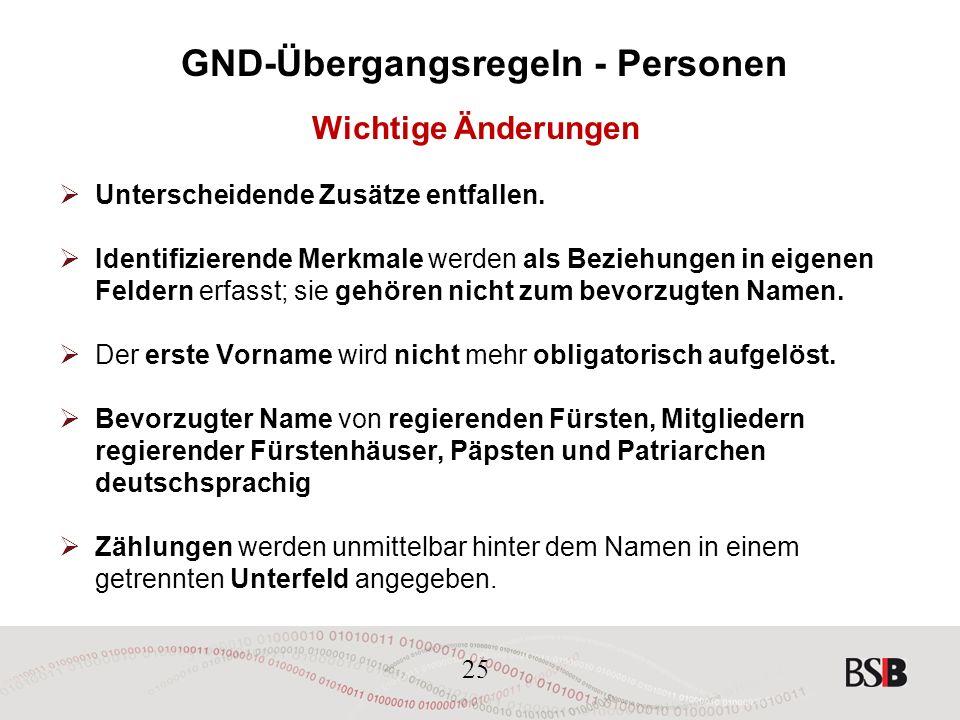 25 GND-Übergangsregeln - Personen Wichtige Änderungen  Unterscheidende Zusätze entfallen.