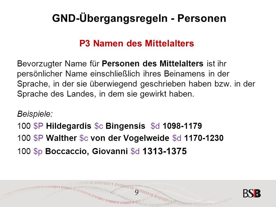 9 GND-Übergangsregeln - Personen P3 Namen des Mittelalters Bevorzugter Name für Personen des Mittelalters ist ihr persönlicher Name einschließlich ihres Beinamens in der Sprache, in der sie überwiegend geschrieben haben bzw.