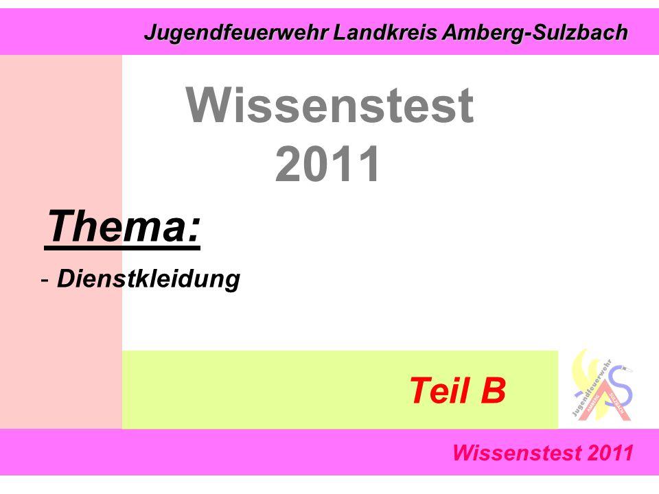Jugendfeuerwehr Landkreis Amberg-Sulzbach Jugendfeuerwehr Landkreis Amberg-Sulzbach Wissenstest 2011 Thema: - Dienstkleidung Teil B
