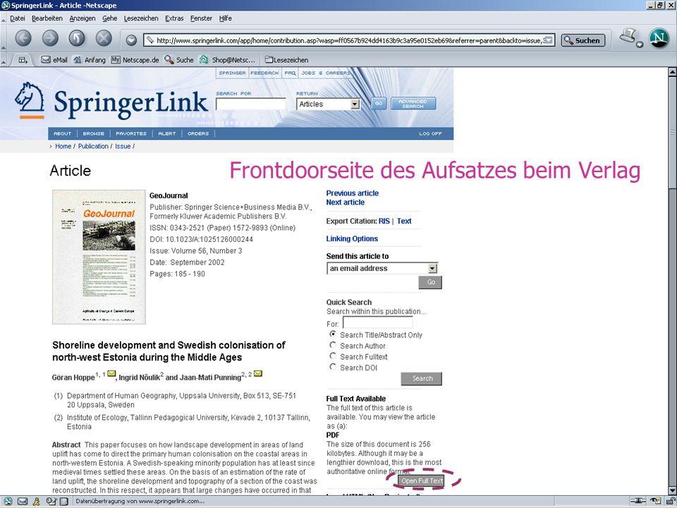 9. Mai 200512 Frontdoorseite des Aufsatzes beim Verlag