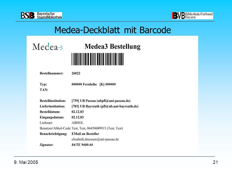 9. Mai 200521 Medea-Deckblatt mit Barcode