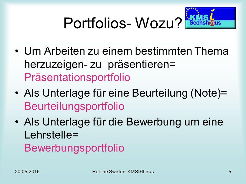 30.05.2016Helene Swaton, KMSI 6haus5 Portfolios- Wozu.