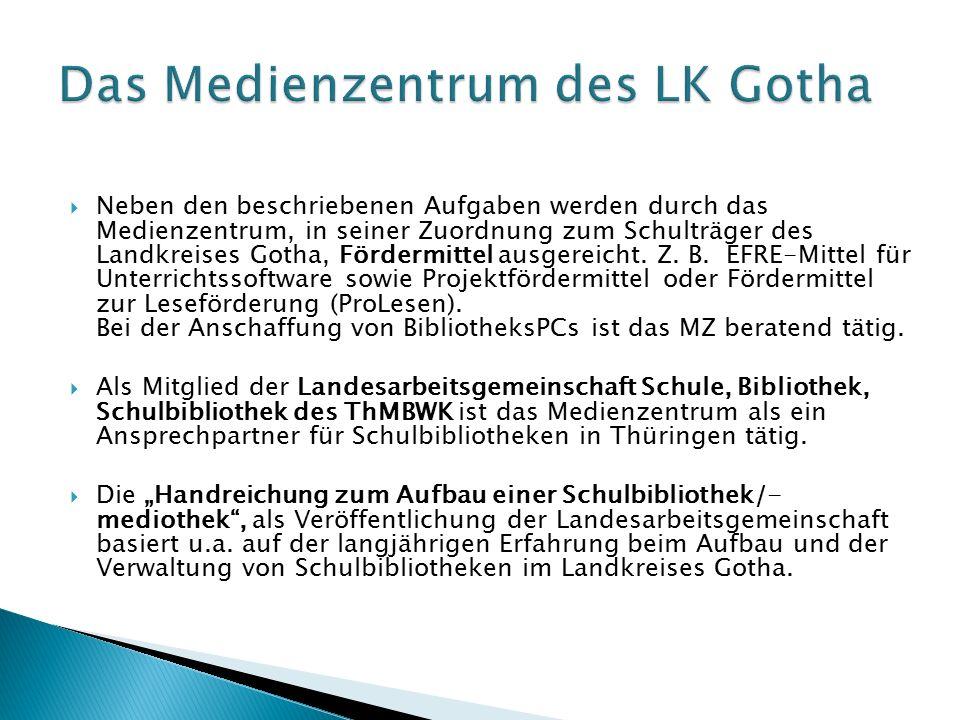  Neben den beschriebenen Aufgaben werden durch das Medienzentrum, in seiner Zuordnung zum Schulträger des Landkreises Gotha, Fördermittel ausgereicht.