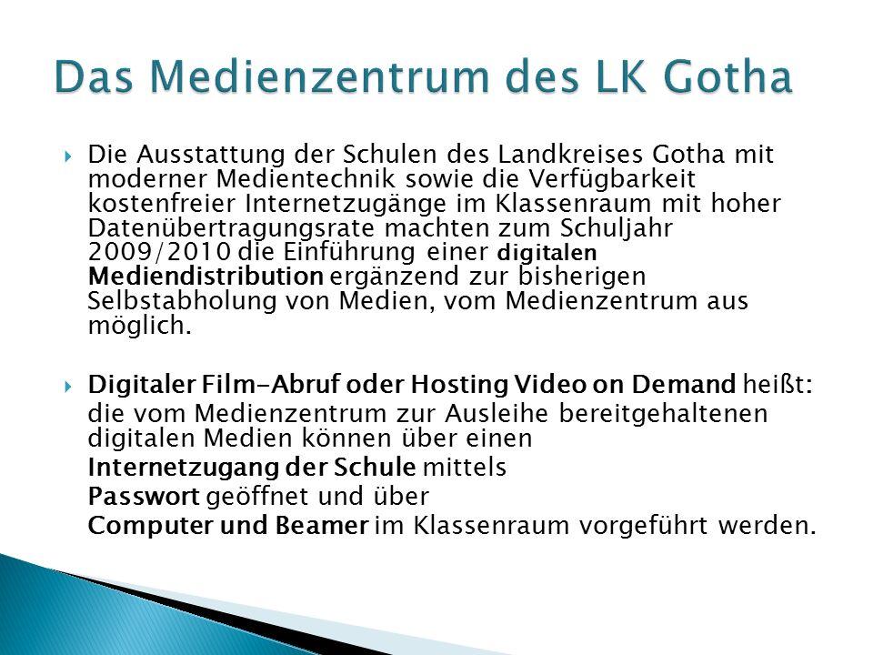  Die Ausstattung der Schulen des Landkreises Gotha mit moderner Medientechnik sowie die Verfügbarkeit kostenfreier Internetzugänge im Klassenraum mit hoher Datenübertragungsrate machten zum Schuljahr 2009/2010 die Einführung einer digitalen Mediendistribution ergänzend zur bisherigen Selbstabholung von Medien, vom Medienzentrum aus möglich.