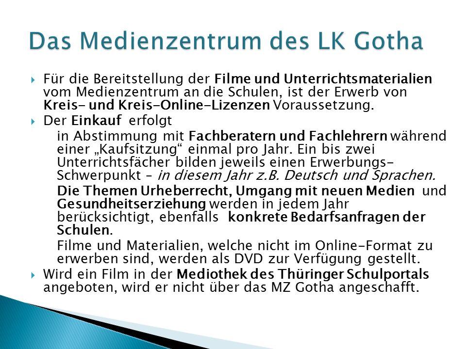  Für die Bereitstellung der Filme und Unterrichtsmaterialien vom Medienzentrum an die Schulen, ist der Erwerb von Kreis- und Kreis-Online-Lizenzen Voraussetzung.
