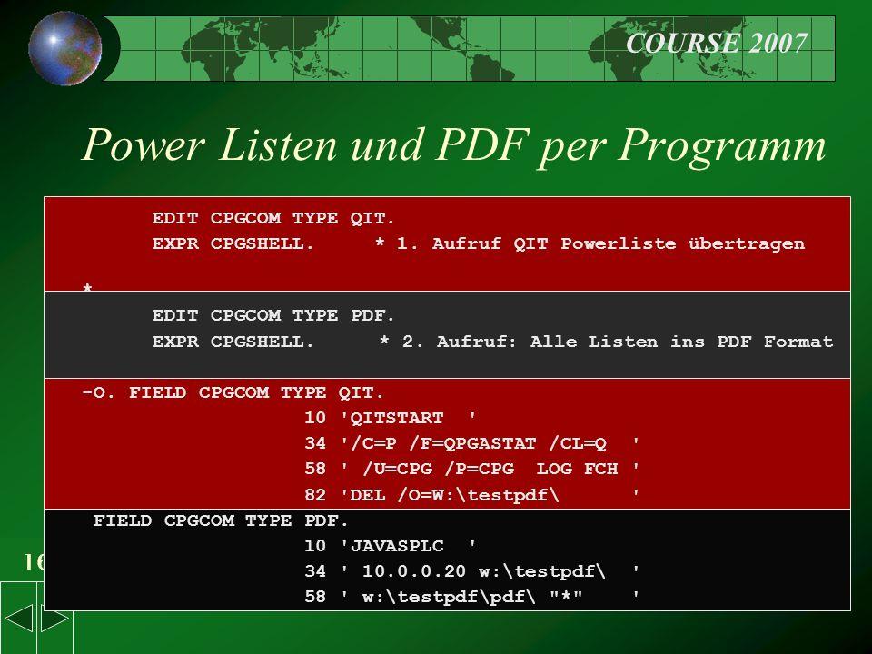 COURSE 2007 16 Power Listen und PDF per Programm EDIT CPGCOM TYPE QIT.