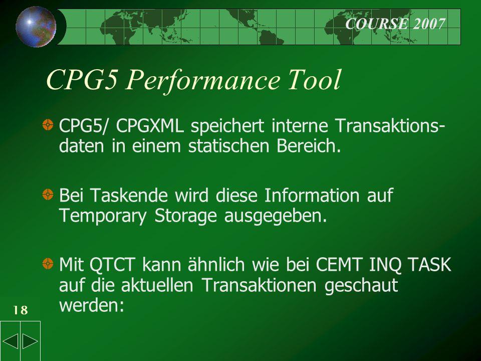 COURSE 2007 18 CPG5 Performance Tool CPG5/ CPGXML speichert interne Transaktions- daten in einem statischen Bereich.