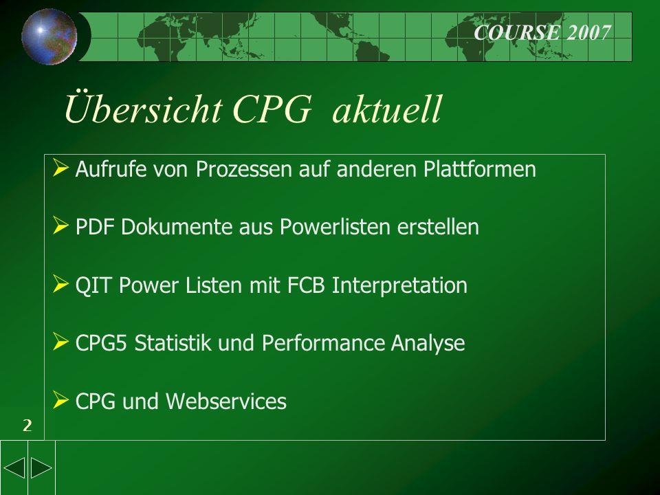 2 Übersicht CPG aktuell  Aufrufe von Prozessen auf anderen Plattformen  PDF Dokumente aus Powerlisten erstellen  QIT Power Listen mit FCB Interpretation  CPG5 Statistik und Performance Analyse  CPG und Webservices