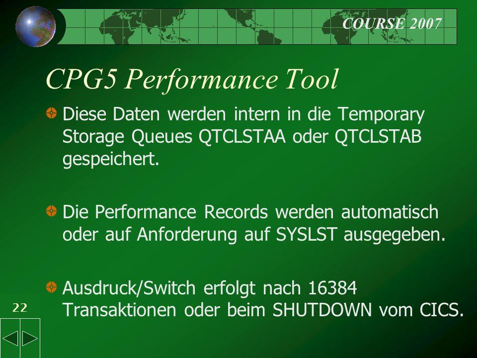 COURSE 2007 22 CPG5 Performance Tool Diese Daten werden intern in die Temporary Storage Queues QTCLSTAA oder QTCLSTAB gespeichert.