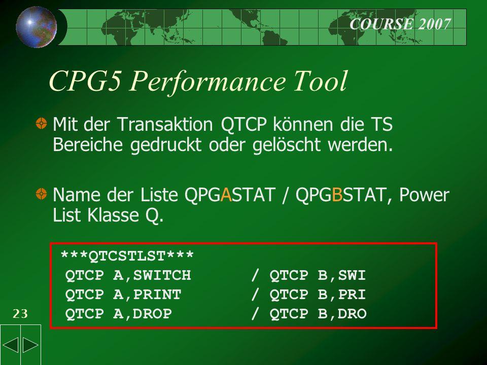 COURSE 2007 23 CPG5 Performance Tool Mit der Transaktion QTCP können die TS Bereiche gedruckt oder gelöscht werden.
