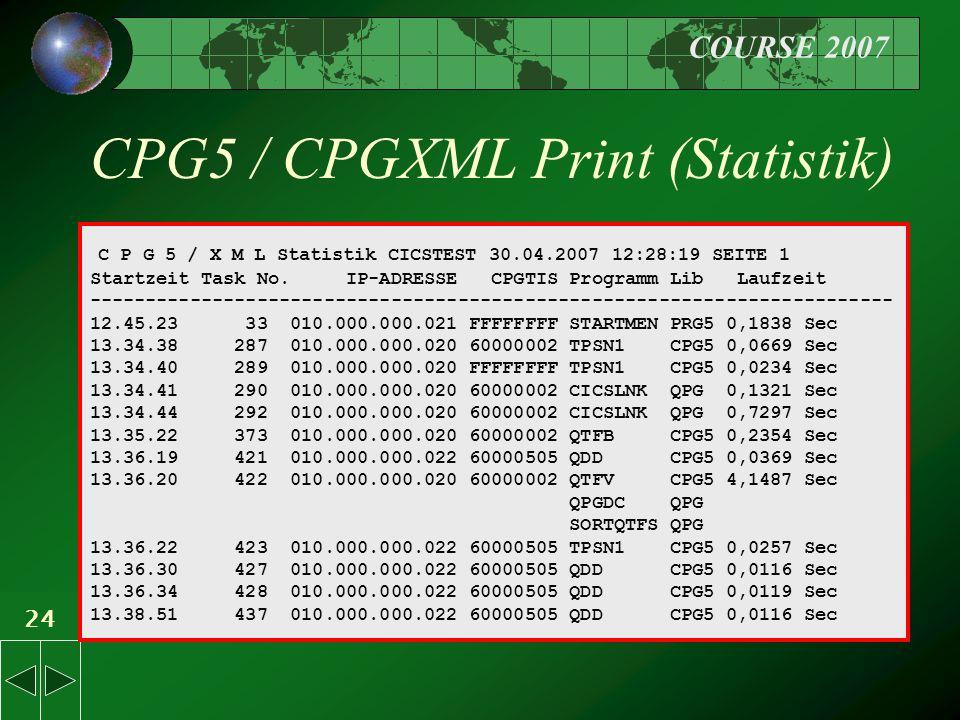 COURSE 2007 24 CPG5 / CPGXML Print (Statistik) C P G 5 / X M L Statistik CICSTEST 30.04.2007 12:28:19 SEITE 1 Startzeit Task No.