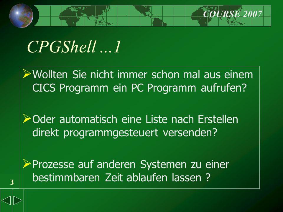 COURSE 2007 3 CPGShell...1  Wollten Sie nicht immer schon mal aus einem CICS Programm ein PC Programm aufrufen.