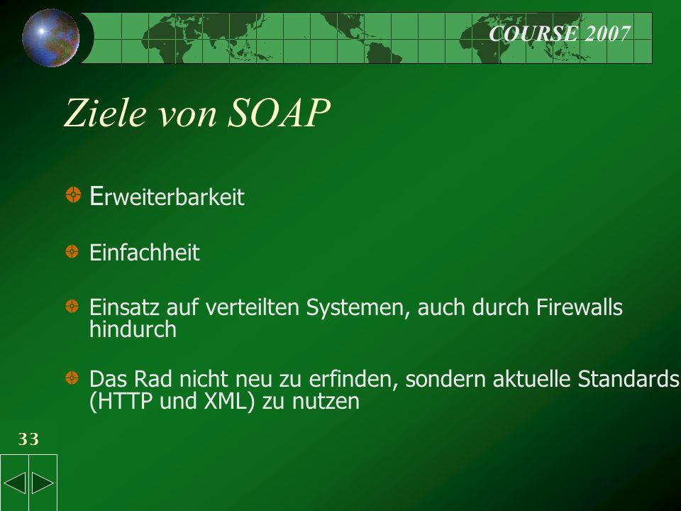 COURSE 2007 33 Ziele von SOAP E rweiterbarkeit Einfachheit Einsatz auf verteilten Systemen, auch durch Firewalls hindurch Das Rad nicht neu zu erfinden, sondern aktuelle Standards (HTTP und XML) zu nutzen