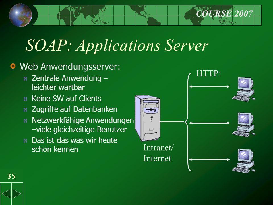 COURSE 2007 35 SOAP: Applications Server Web Anwendungsserver: Zentrale Anwendung – leichter wartbar Keine SW auf Clients Zugriffe auf Datenbanken Netzwerkfähige Anwendungen –viele gleichzeitige Benutzer Das ist das was wir heute schon kennen HTTP: Intranet/ Internet