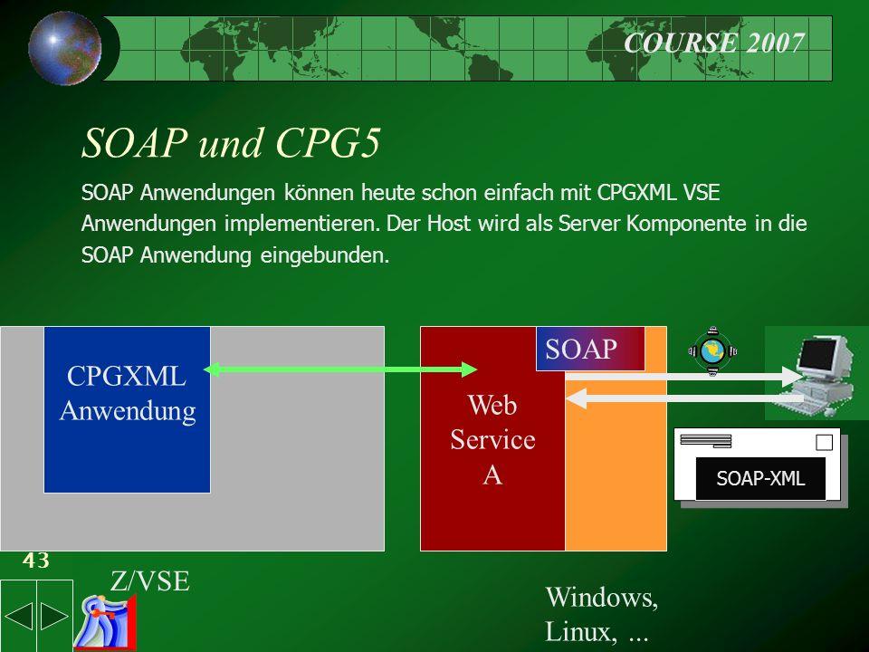 COURSE 2007 43 SOAP und CPG5 SOAP Anwendungen können heute schon einfach mit CPGXML VSE Anwendungen implementieren.