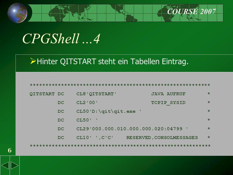 COURSE 2007 6 CPGShell...4  Hinter QITSTART steht ein Tabellen Eintrag.