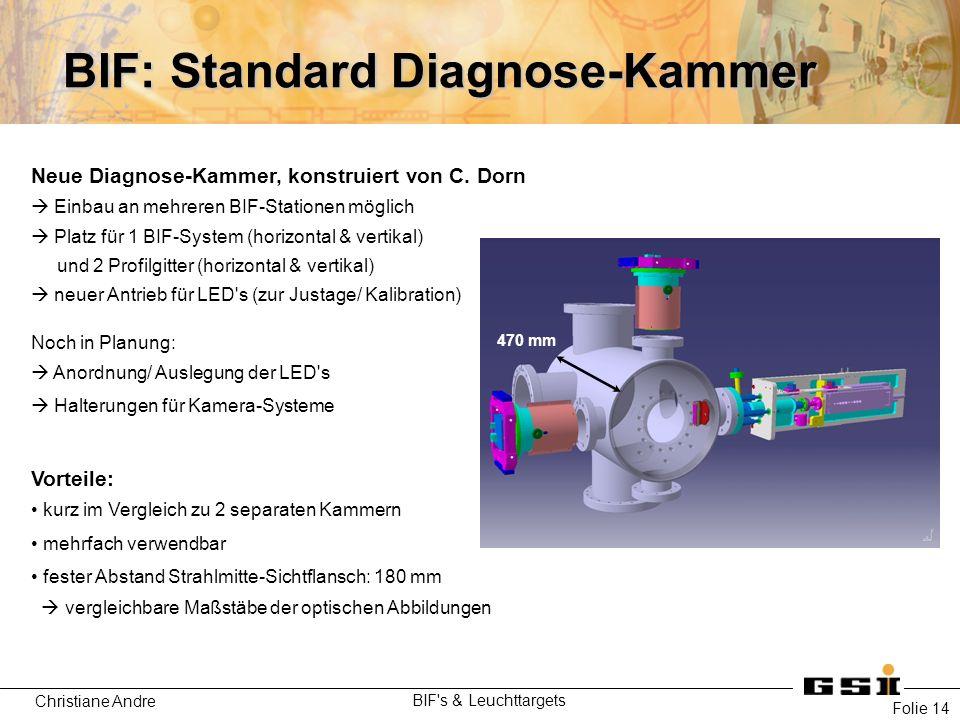 Christiane Andre BIF's & Leuchttargets Folie 14 BIF: Standard Diagnose-Kammer Neue Diagnose-Kammer, konstruiert von C. Dorn  Einbau an mehreren BIF-S