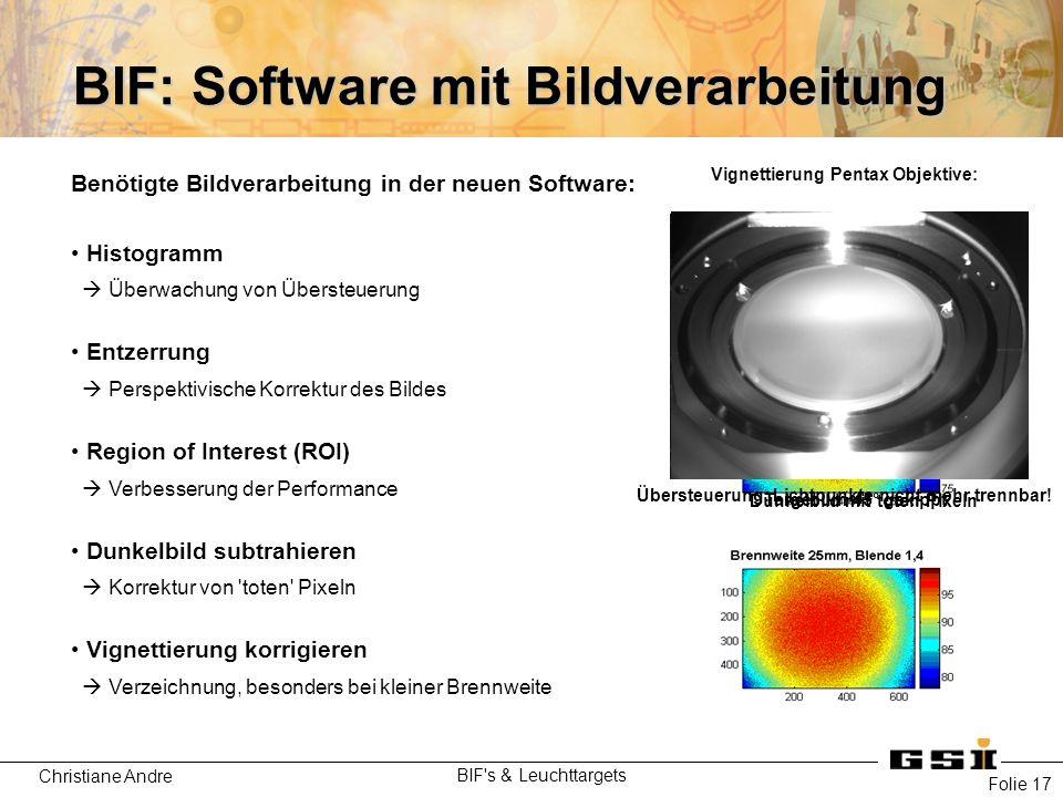Christiane Andre BIF's & Leuchttargets Folie 17 Benötigte Bildverarbeitung in der neuen Software: Histogramm  Überwachung von Übersteuerung Entzerrun