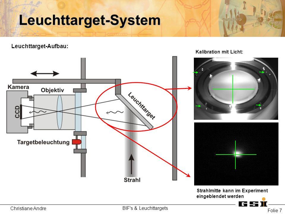 Christiane Andre BIF's & Leuchttargets Folie 7 Leuchttarget-System Kalibration mit Licht: Strahlmitte kann im Experiment eingeblendet werden Leuchttar
